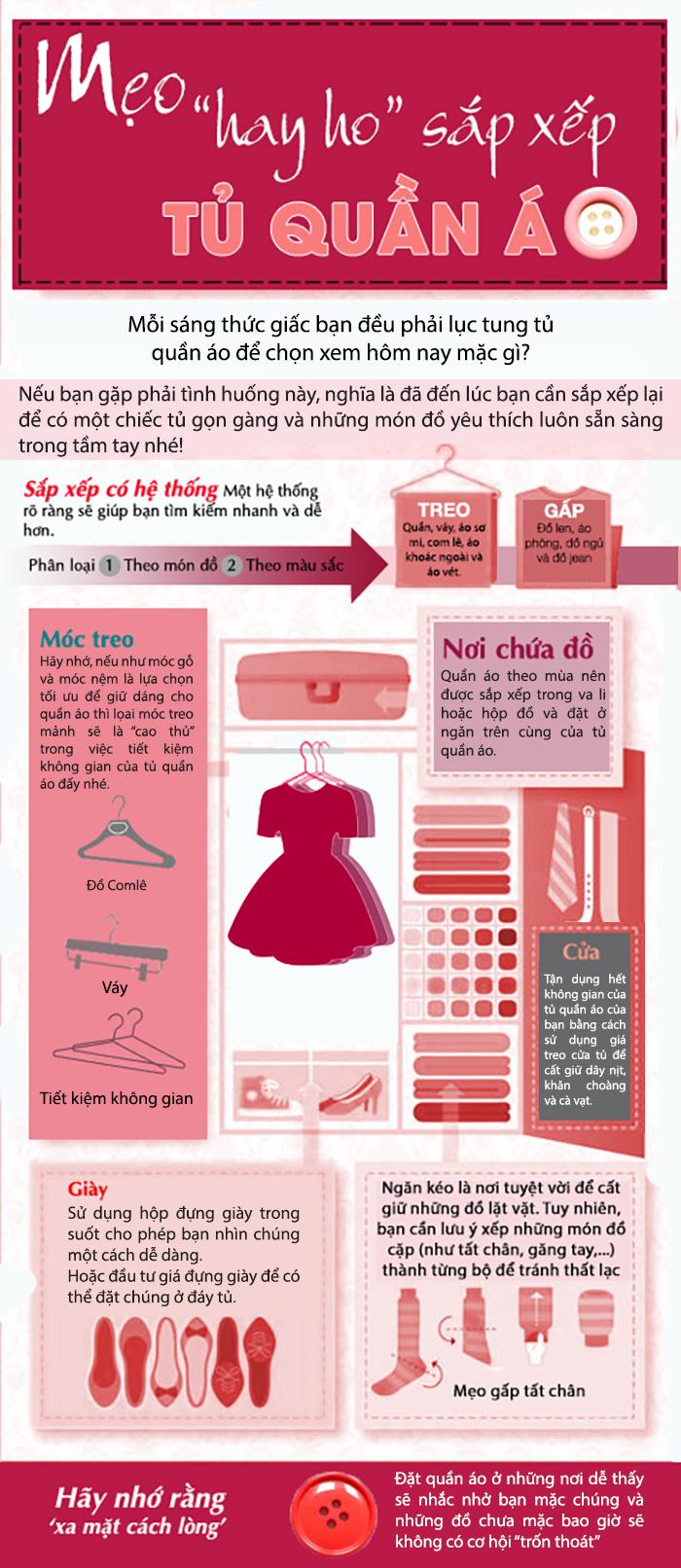 Mẹo đơn giản giúp hô biến tủ quần áo trở nên gọn gàng, ngăn nắp