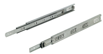 Ball bearing runners, full extension, load-bearing capacity up to 30 kg, steel