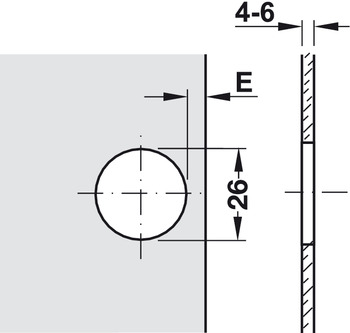 Drilling pattern for cup fixing