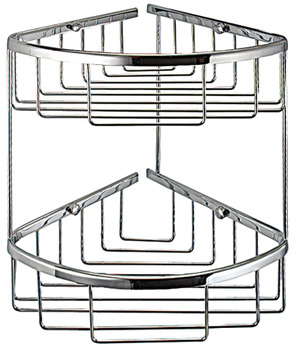 Corner wire basket, chrome plated polished, 2 tiers, Classic series