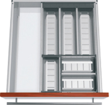 Compartment system, Blum Orga-Line, Tandembox, for knives, forks and spoons, system height M, drawer side height 83 mm