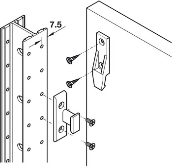 EHS frame component, for screw fixing to substructures, with side guide