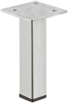 Furniture foot, without height adjustment facility, with plate, stainless steel
