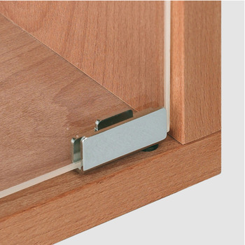 Glass door hinge, Simplex-Clip, for tool-less door mounting without glass drilling