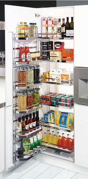 Larder unit, internal pull-out with door shelf and hanging baskets