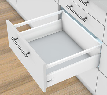 Pull-out set, Blum Tandembox antaro, with Blumotion cabinet rail, railing D, system height K, drawer side height 115 mm