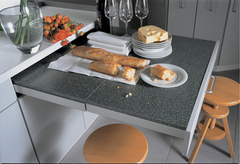 Pull-out table fitting, steel, 30 kg, without worktop