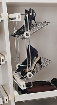 Shoe rack, for screw fixing, with 3 storage baskets, full extension
