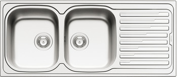 Sink, Stainless steel, HS-S11650, double bowl with drainer