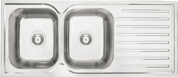 Sink, Stainless steel, HS-S11848, double bowl with drainer