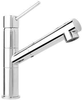 Tap, Single lever, metallic finishes, extendable spray head