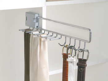 Tie and belt rack, extending, for 9 ties and 5 belts