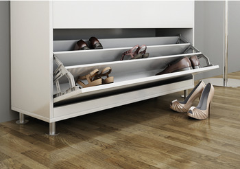 Tilting fitting, for shoe cupboards, with 3 compartments