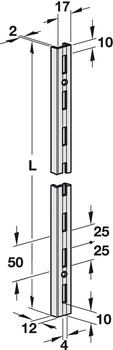 U-shaped channel for shelf units, single slotted or double slotted