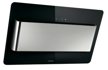 Vertical hood, Black and stainless steel glass panel, electronic touch control, 80 cm