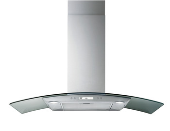 Wall-mounted hood, Curved glass, 3 speed + intensive, electronic soft touch control, 90 cm