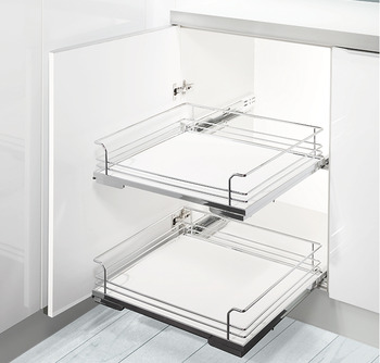Base unit internal pull-out, Installation behind front, roller bearing guided, shelf