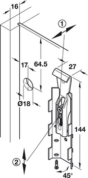 Cabinet hanger, Wall unit, load-bearing capacity 130 kg/pair, for screw fixing or press fitting