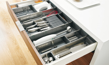 Compartment system sets, Blum Orga-Line, Tandembox, for Space Corner corner drawer system height M, drawer side height 83 mm