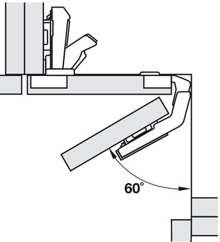 Concealed hinge, Clip Top 60°, for folding doors for corner cabinets