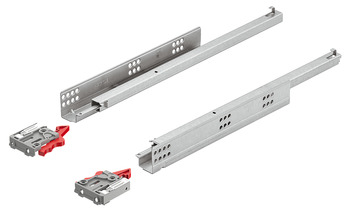Concealed runners, Häfele Matrix Runner UM A25, single extension, load bearing capacity up to 25 kg, steel, coupling installation