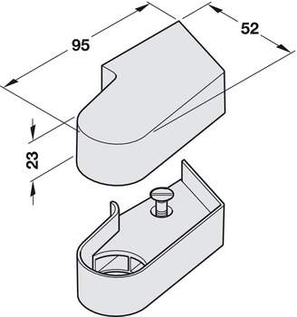 Cover cap, For top centres on flush doors, Geze