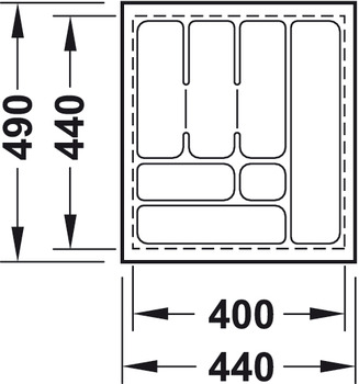 Cutlery insert, universal, for cutting to size, deep drawn