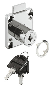 Dead bolt rim lock, with plate cylinder, backset 24 mm