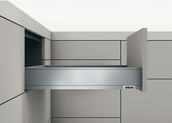 Drawer set, Legrabox pure, drawer side height 90 mm, system height M, with Blumotion cabinet rail