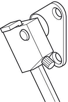 Flap stay with braking mechanism, 1 arm, with housing and screw-on bracket