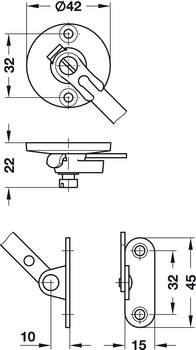 Flap stay with braking mechanism, For wooden flaps, adjustable braking effect, with retaining function