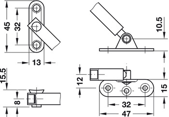 Flap stay with braking mechanism, For wooden flaps, adjustable braking effect