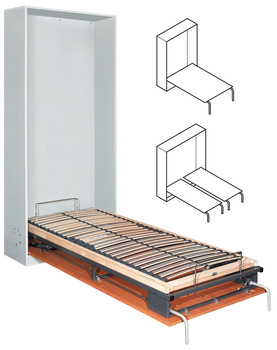 Foldaway bed fitting, Bettlift, for end mounting, single, double or French bed