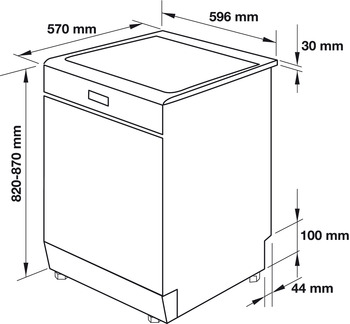 Free-standing dishwasher, 15 place settings, 60 cm