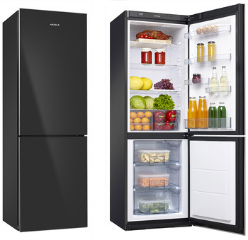 Free-standing fridge, black, total capacity 319 litres