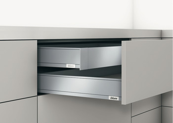 Front component, Legrabox pure, drawer side height 83 mm, for internal drawer box with railing
