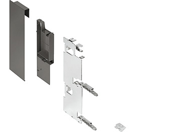 Front fixing bracket set, Legrabox pure, drawer side height 189 mm, for internal drawer box with railing