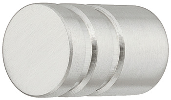Furniture knob, stainless steel, round, ribbed