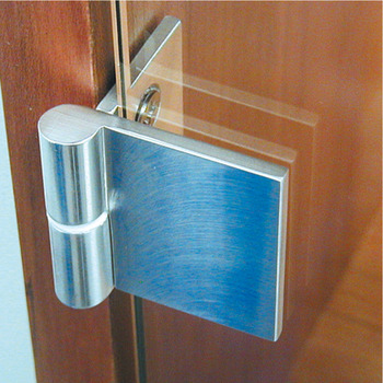 Glass door hinge, opening angle 180°, aluminium, for all-glass constructions