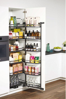 Larder unit pull-out, Kesseböhmer Tandem Pantry, with door shelf and hanging baskets