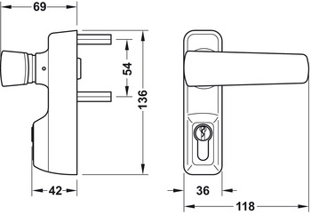 Lever handle, for PED 200 and 210, in compliance with EN 1125, Startec