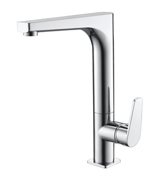 Mixer tap, Single lever, metallic finished, fixed spout