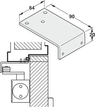 Mounting bracket, parallel arm installation, for DCL door closer