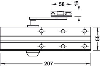 Overhead door closer, DCL 15, EN 2–4, with arm, Startec