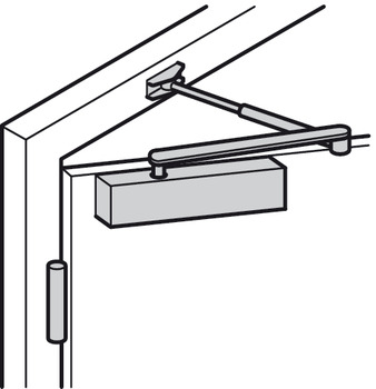 Overhead door closer, TS 4000 L, EN 1–6, with arm and hold open arm, Geze