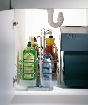 Pull-out for under sinks, base unit, with dampened self closing mechanism, installation on floor
