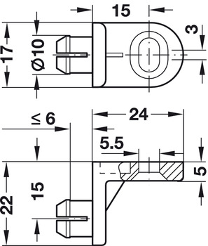 Rear panel connectors, for hooking-in into rear panel, length 24 mm