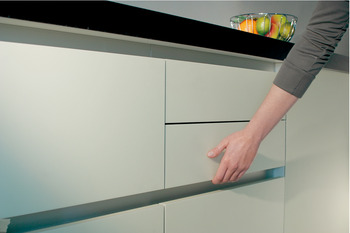 Recessed grip profile, horizontal, Aluminium, for seemingly handle-less fronts
