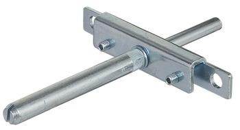 Shelf supports, with screw-on plate and supporting pin, concealed installation