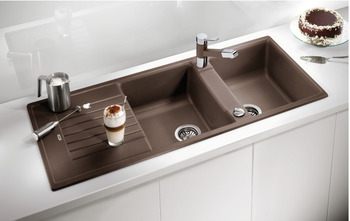 Sink, Silgranit, Blanco Zia 8 S, double bowl with drainer, 116 cm